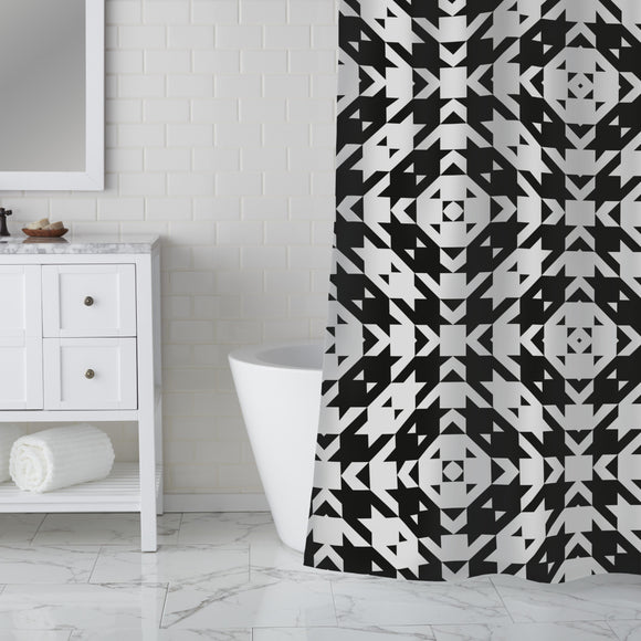 Houndstooth Tile Shower Curtain