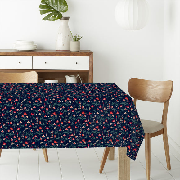 Floral Summer Night Rectangle Tablecloths