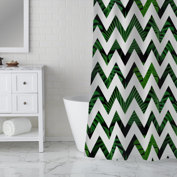 Zig zag Palm Leaves Shower Curtain