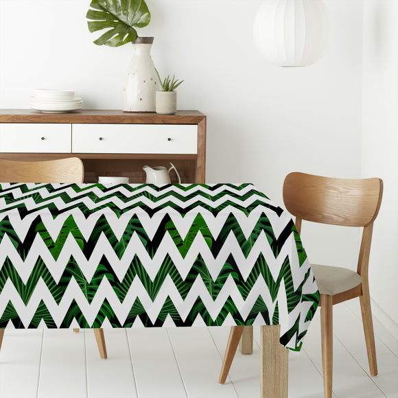 Zig zag Palm Leaves Rectangle Tablecloths