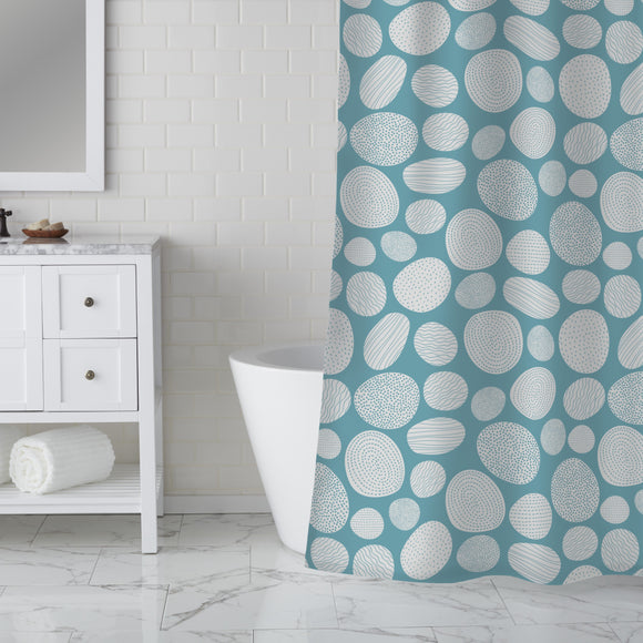 White Stones Shower Curtain