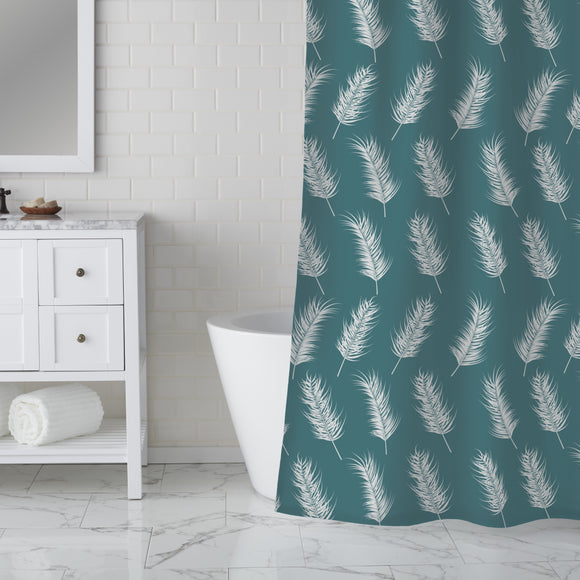 Flying palm leaves Shower Curtain