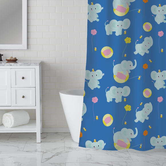 Baby Elephants and Balls Shower Curtain