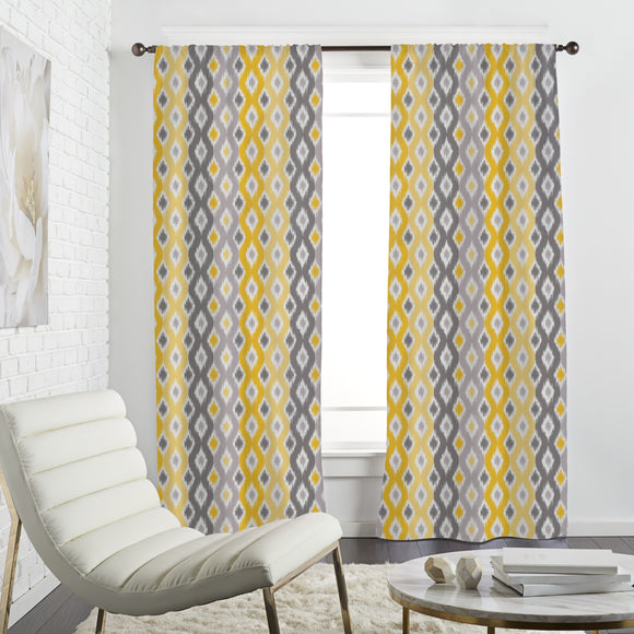 Sunny Diamond Ikat Curtains