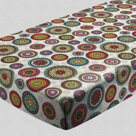 Rings of mandala Fitted Sheets