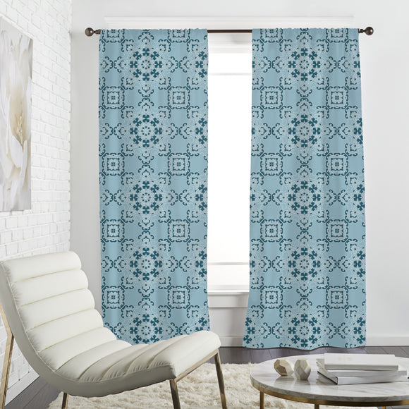 Elegant Floral Tiles Curtains