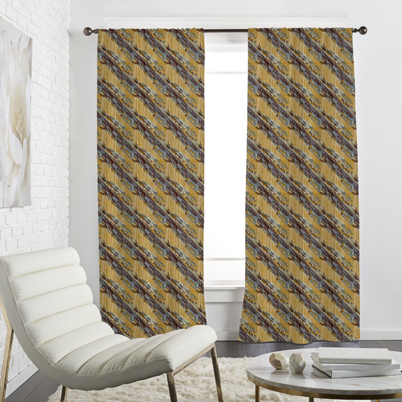 Diagonal Ikat Curtains