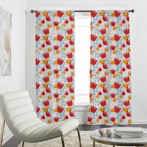 Stylized tulips Curtains