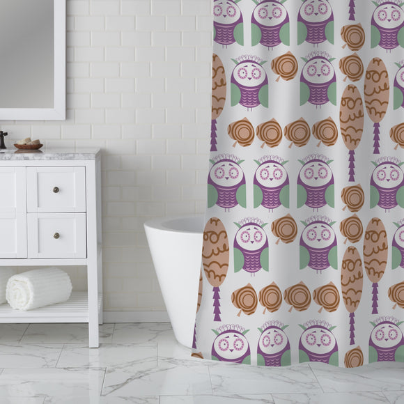 Baby Owls In Nature Shower Curtain