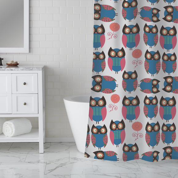 Owls With Flowers Shower Curtain