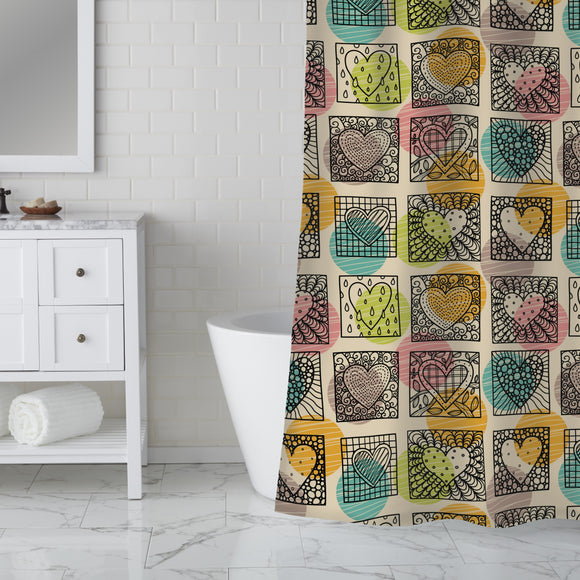 Shapes of hearts Shower Curtain