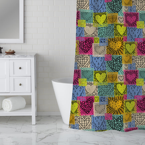 Patches of love Shower Curtain