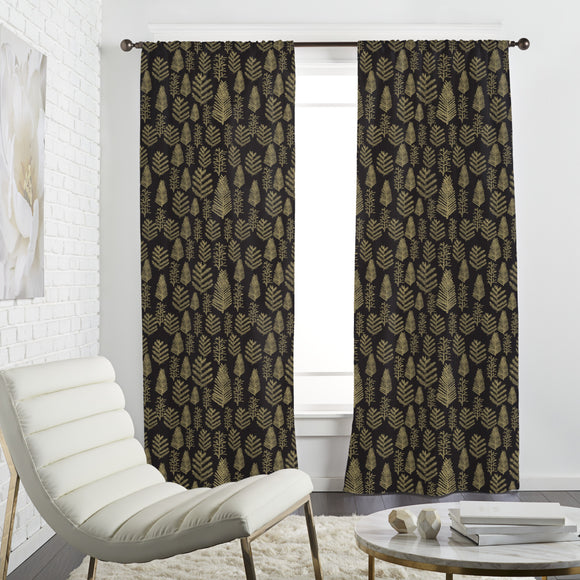 Golden Christmas forest Curtains