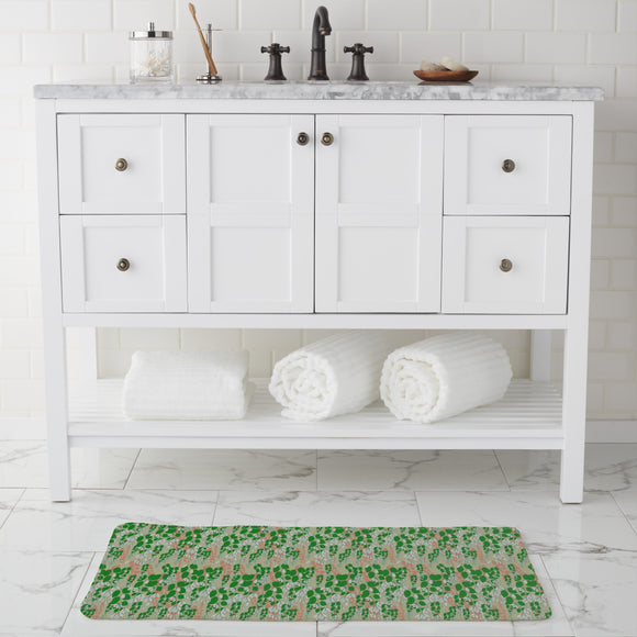 Bouganvillea Beige Bathroom Rug