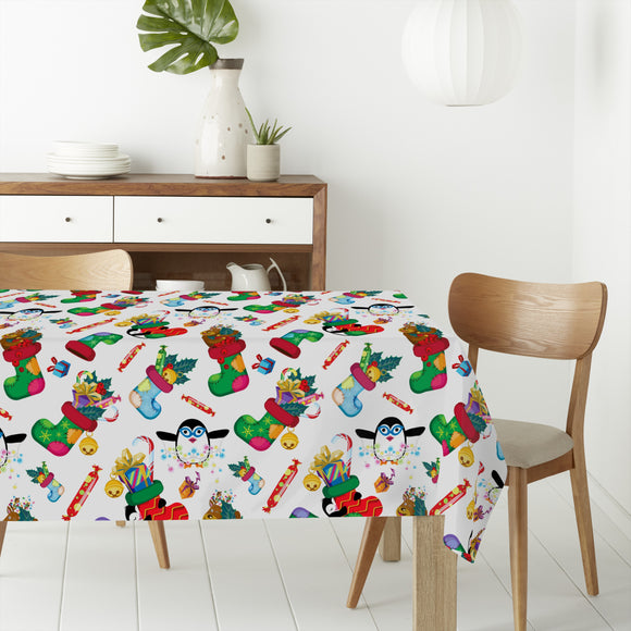 Gifts and penguins Rectangle Tablecloths