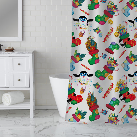 Gifts and penguins Shower Curtain
