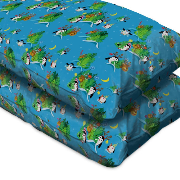 Penguins and deer in the Christmas forest Pillow Case