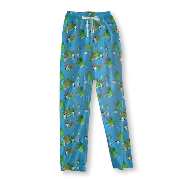 Penguins and deer in the Christmas forest Pajama Pants