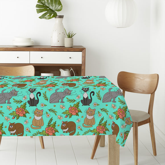 Cats in spring Rectangle Tablecloths