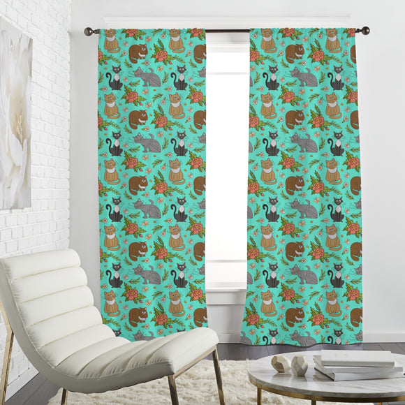Cats in spring Curtains