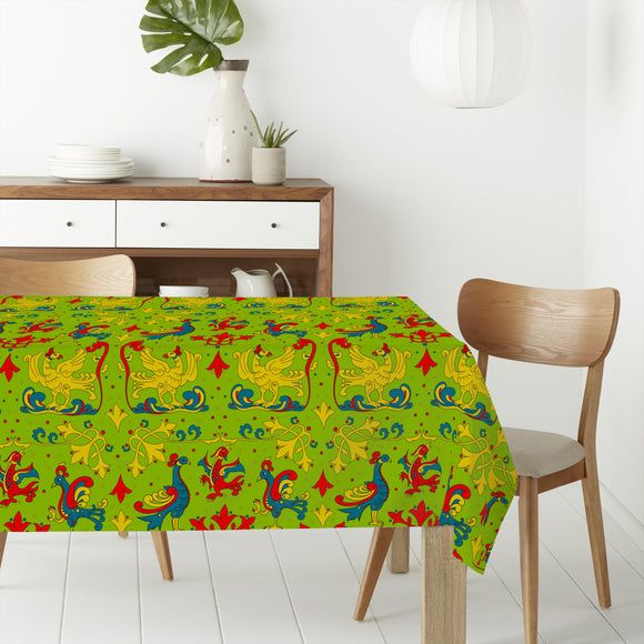 Traditional Birds And Curlicue Rectangle Tablecloths