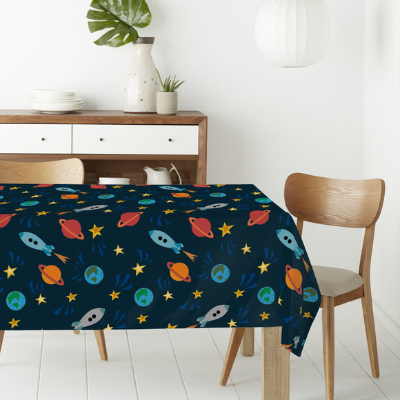 Rockets on milky way Rectangle Tablecloths