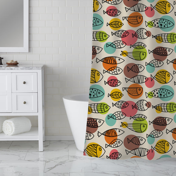 Cute Fish World Shower Curtain