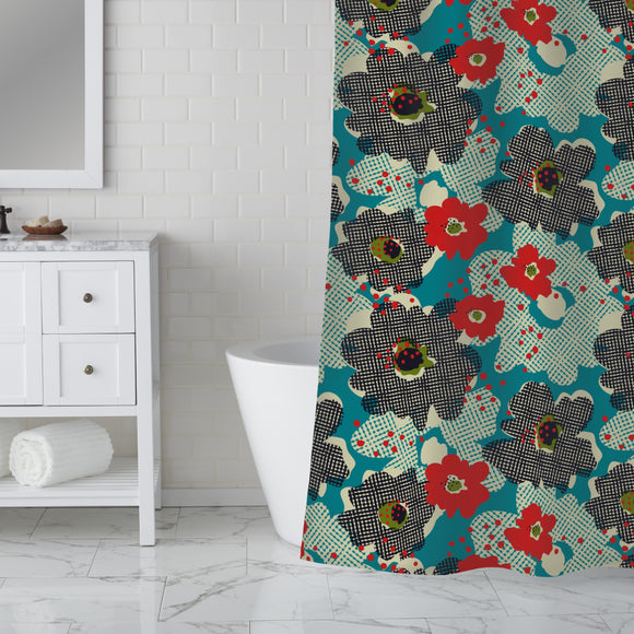 Raster Of Flowers Shower Curtain