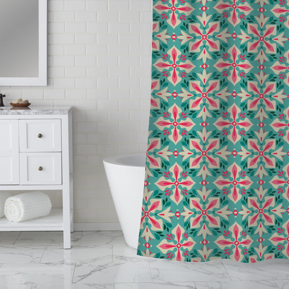 Floral Cross Shower Curtain