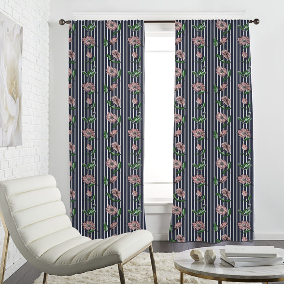 Flowers On Pinstripes Curtains