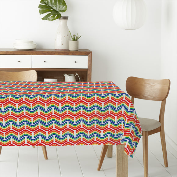 Interlocking Waves Rectangle Tablecloths