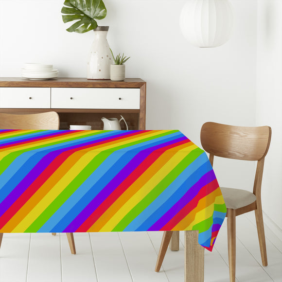 Diagonal Rainbow Stripes Rectangle Tablecloths