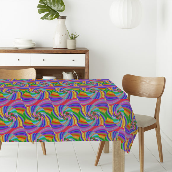 Trippy Rainbow Spiral Rectangle Tablecloths