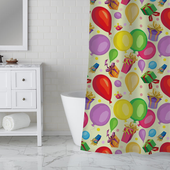 Gifts and balloons Shower Curtain