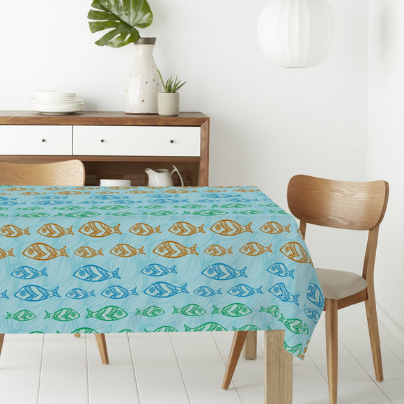 Waves and Fishes Rectangle Tablecloths