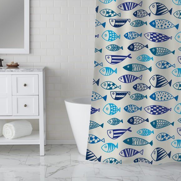 Line fish Shower Curtain
