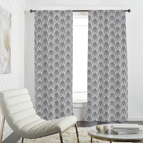 Damask with floral sprigs Curtains