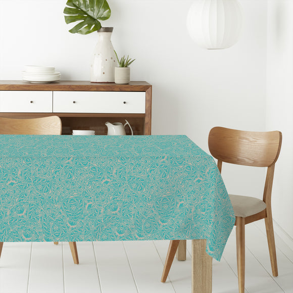 Floral woodcut Rectangle Tablecloths