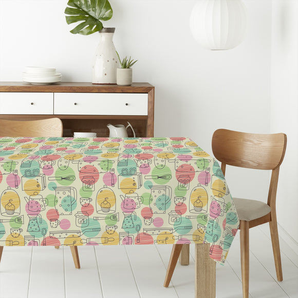 Kitchen things and ornate balls Rectangle Tablecloths