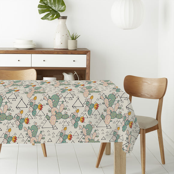 Prickly Pear Cacti and Triangles Rectangle Tablecloths