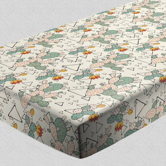 Prickly Pear Cacti and Triangles Fitted Sheets