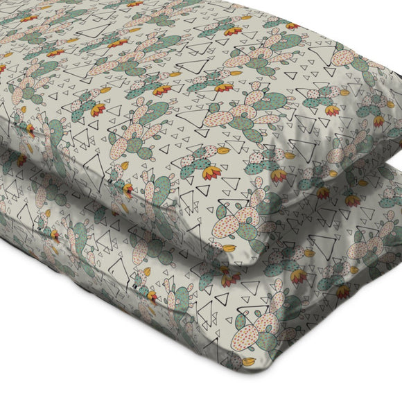 Prickly Pear Cacti and Triangles Pillow Case