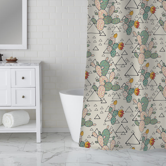 Prickly Pear Cacti and Triangles Shower Curtain
