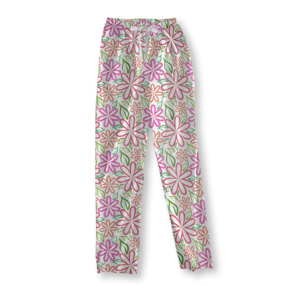 Symmetric Watercolor Flowers Pajama Pants