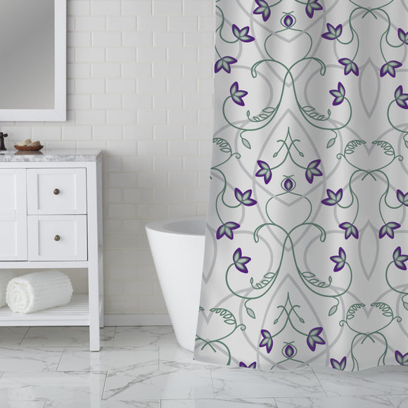 Flowers On The Gothic Gate Shower Curtain