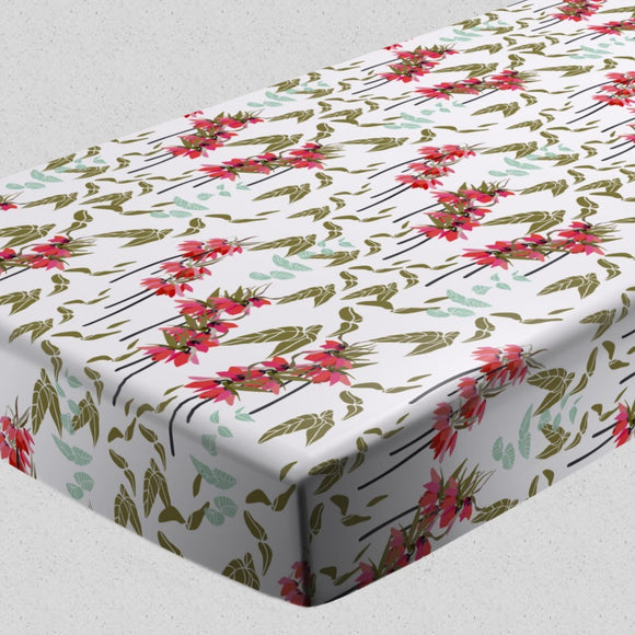 Lovely lilies flowers and leaves Fitted Sheets