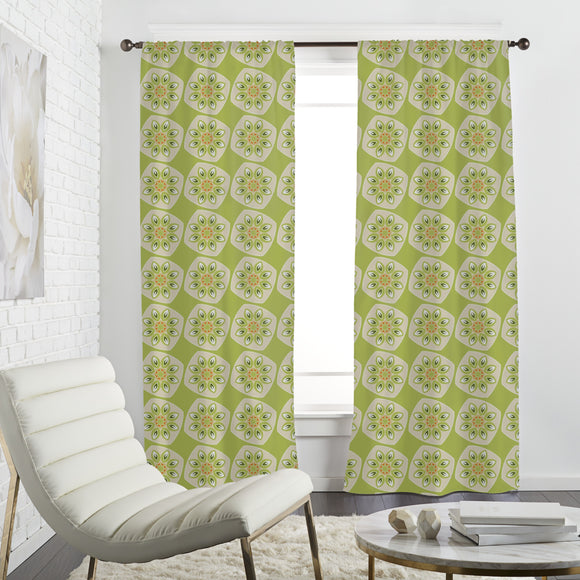Abstract Kiwi Fruit Curtains