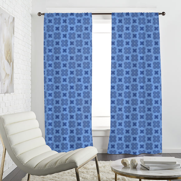 Floral Check Curtains
