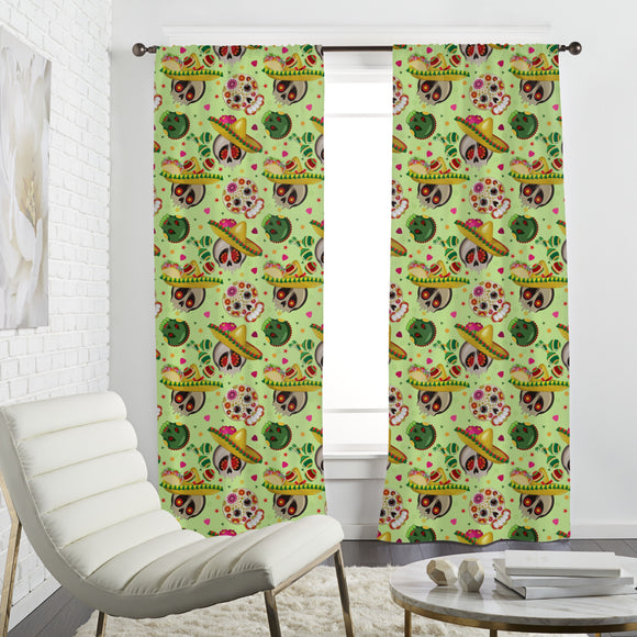 Mexican Sugar Skulls Curtains