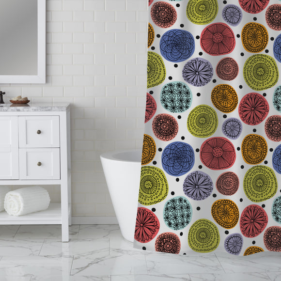 Flowers Polka Dot Shower Curtain